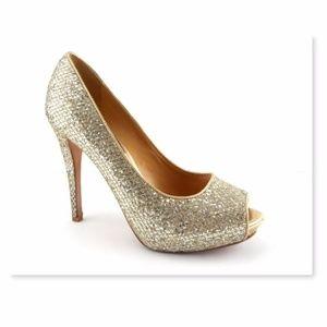 BADGLEY MISCHKA Glitter Peep Toe Pumps 7.5